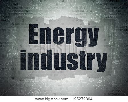 Industry concept: Painted black text Energy Industry on Digital Data Paper background with  Scheme Of Hand Drawn Industry Icons
