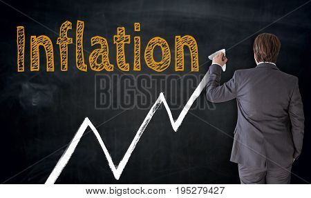 Businessman writes inflation on blackboard concept backgrounds