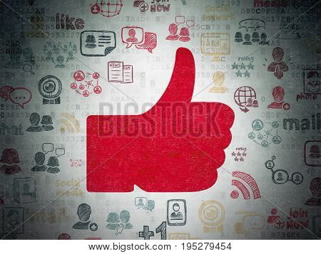 Social network concept: Painted red Thumb Up icon on Digital Data Paper background with  Hand Drawn Social Network Icons