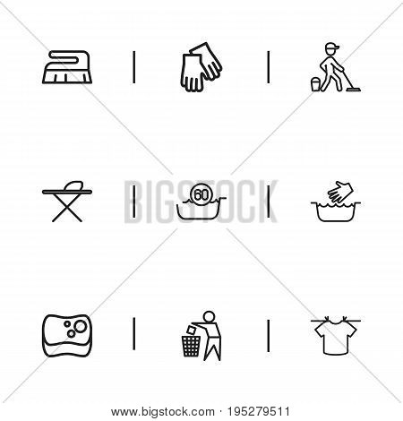 Set Of 9 Editable Hygiene Icons. Includes Symbols Such As Hot Water, Mopping, Brush And More. Can Be Used For Web, Mobile, UI And Infographic Design.