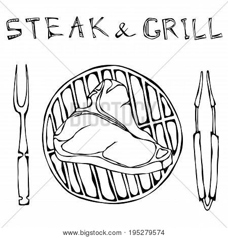 T-Bone Steak on the Grill for Barbecue, Tongs and Fork. Lettering Steak and Grill. Isolated On a White Background. Realistic Doodle Cartoon Style Hand Drawn Sketch Vector Illustration.