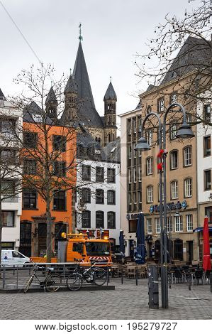 COLOGNE GERMANY - FEBRUARY 22 2016: Street in the historical center of Cologne the largest city in the German federal State of North Rhine-Westphalia and the fourth-largest city in Germany