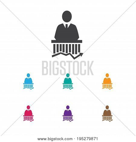 Vector Illustration Of Analytics Symbol On Businessman Icon. Premium Quality Isolated Work Man Element In Trendy Flat Style.