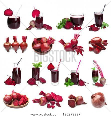 Collage of beets and juice in glassware on white background