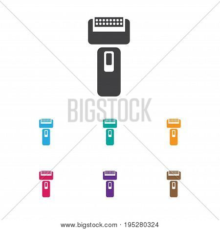 Vector Illustration Of Hairdresser Symbol On Electric Shaver Icon. Premium Quality Isolated Cutting Machine Element In Trendy Flat Style.