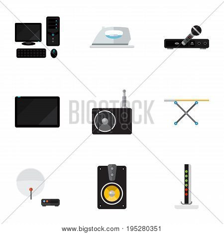 Set Of 9 Editable Tech Icons. Includes Symbols Such As Personal Computer, Microphone, Palmtop And More. Can Be Used For Web, Mobile, UI And Infographic Design.