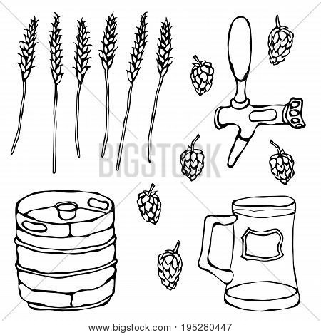 Set of Beer Objects: Hop, Malt, Mug, Tap, Keg. Realistic Doodle Cartoon Style Hand Drawn Sketch Vector Illustration. Isolated On a White Background.