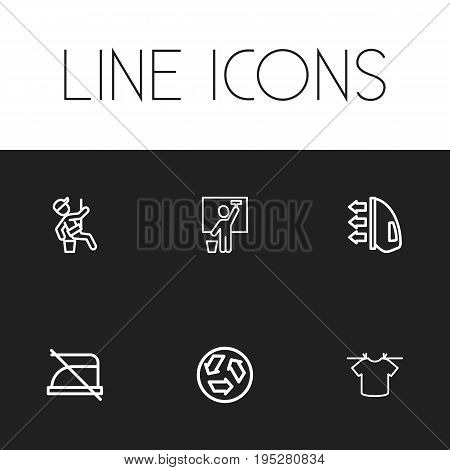Set Of 6 Editable Cleanup Icons. Includes Symbols Such As Hanging Rope, Ecology, Ironing And More. Can Be Used For Web, Mobile, UI And Infographic Design.