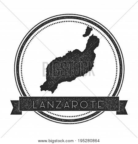 Lanzarote Map Stamp. Retro Distressed Insignia. Hipster Round Badge With Text Banner. Island Vector