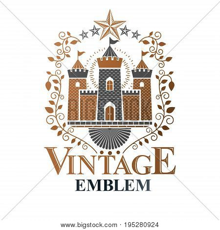 Ancient Castle emblem. Heraldic Coat of Arms decorative logo isolated vector illustration. Antique logotype in old style on white background.