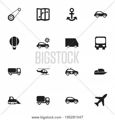 Set Of 16 Editable Transportation Icons. Includes Symbols Such As Food Transport, Chopper, Airship And More. Can Be Used For Web, Mobile, UI And Infographic Design.