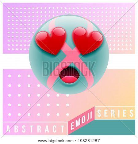 Abstract Cute Surprised Emoji In Love