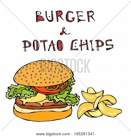 Big Hamburger or Cheeseburger, Beer Mug or Pint and Potato Chips. Burger Logo. Realistic Doodle Cartoon Style Hand Drawn Sketch Vector Illustration.Isolated On a White Background.