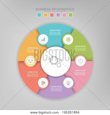 Infographic template of colorful circle pie chart diagram work sheet element flat design of business icon vector