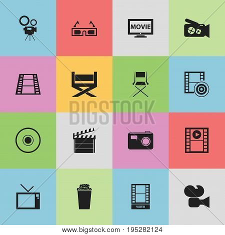 Set Of 16 Editable Filming Icons. Includes Symbols Such As Stool, Photographing, Retro Television And More. Can Be Used For Web, Mobile, UI And Infographic Design.