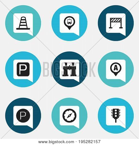 Set Of 9 Editable Direction Icons. Includes Symbols Such As Road Sign, Marker, Stoplight And More. Can Be Used For Web, Mobile, UI And Infographic Design.