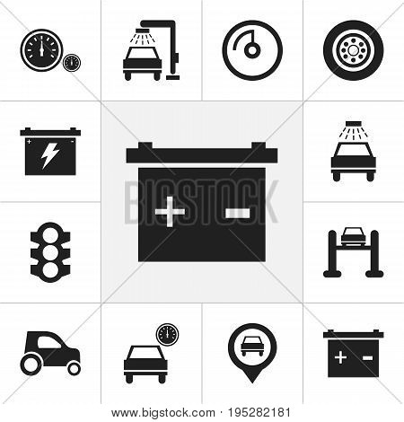Set Of 12 Editable Vehicle Icons. Includes Symbols Such As Car, Accumulator, Stoplight And More. Can Be Used For Web, Mobile, UI And Infographic Design.