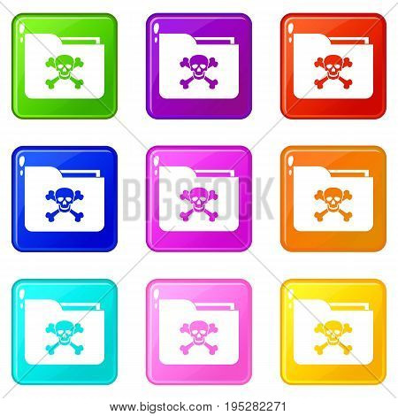 File folder with a skull icons of 9 color set isolated vector illustration