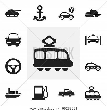 Set Of 12 Editable Transportation Icons. Includes Symbols Such As Fuel, Streetcar, Shipping And More. Can Be Used For Web, Mobile, UI And Infographic Design.