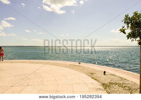 View of Lake Garda and mountains in Italy