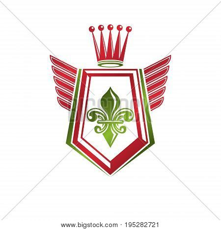 Vintage heraldic emblem created with monarch crown and lily flower royal symbol. Best quality product symbol organic food theme illustration winged guard shield.