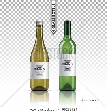 White wine and brandy or liquor bottles isolated on transparent background. Vector 3d detailed mock up set illustrations