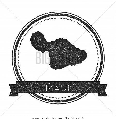 Maui Map Stamp. Retro Distressed Insignia. Hipster Round Badge With Text Banner. Island Vector Illus