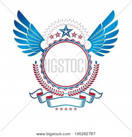 Graphic winged emblem decorated with military Star and simple ribbon. Heraldic Coat of Arms decorative logo isolated vector illustration.