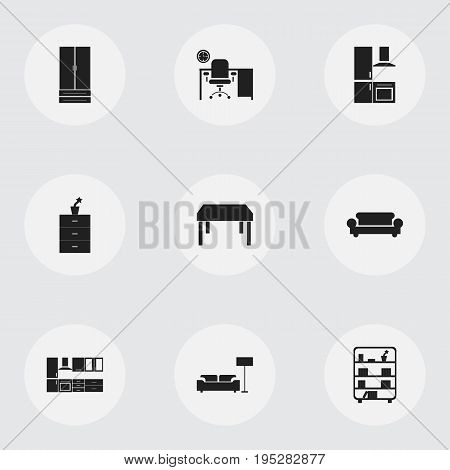 Set Of 9 Editable Furnishings Icons. Includes Symbols Such As Plant Pot, Cooking Furnishings, Cupboard And More. Can Be Used For Web, Mobile, UI And Infographic Design.