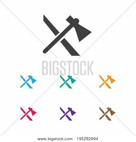 Vector Illustration Of Trip Symbol On Tomahawk Icon. Premium Quality Isolated Axe Element In Trendy Flat Style.