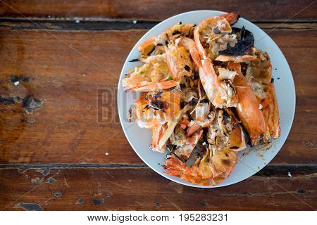 Shrimp Shell On Dish After To Ate