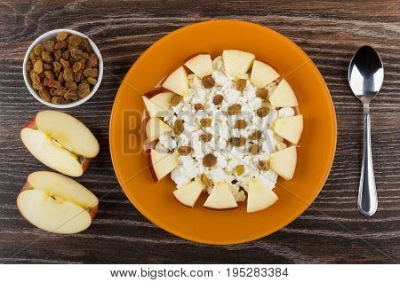 Cottage Cheese, Raisin And Apple In Plate, Pieces Of Apple