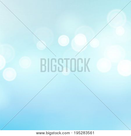 Blue Summer Bokeh Background Vector. Abstract Sea Warm Blur And Circular Bokeh Background.