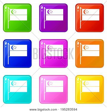 Flag of Singapore icons of 9 color set isolated vector illustration