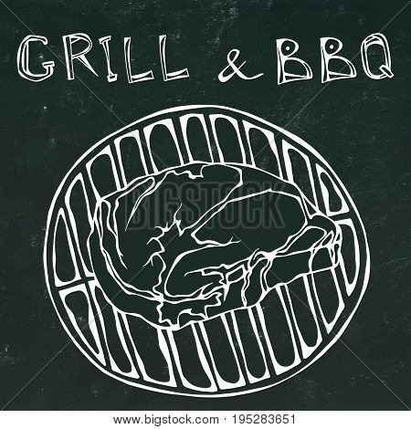 Rib Eye Steak on the Grill for Barbecue. Lettering Grill and BBQ. Isolated on a Black Chalkboard Background. Realistic Doodle Cartoon Style Hand Drawn Sketch Vector Illustration.