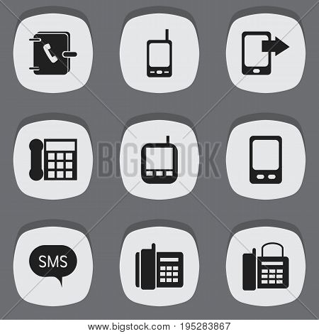 Set Of 9 Editable Device Icons. Includes Symbols Such As Transceiver, Home Cellphone, Mobile And More. Can Be Used For Web, Mobile, UI And Infographic Design.