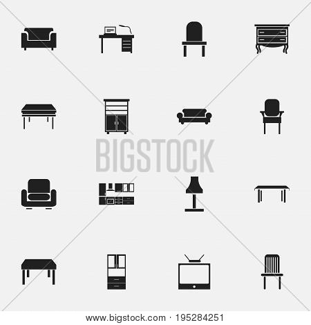 Set Of 16 Editable Furnishings Icons. Includes Symbols Such As Lectern, Stool, Trestle And More. Can Be Used For Web, Mobile, UI And Infographic Design.