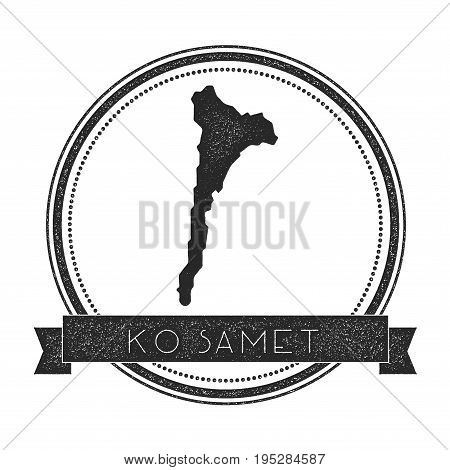 Ko Samet Map Stamp. Retro Distressed Insignia. Hipster Round Badge With Text Banner. Island Vector I