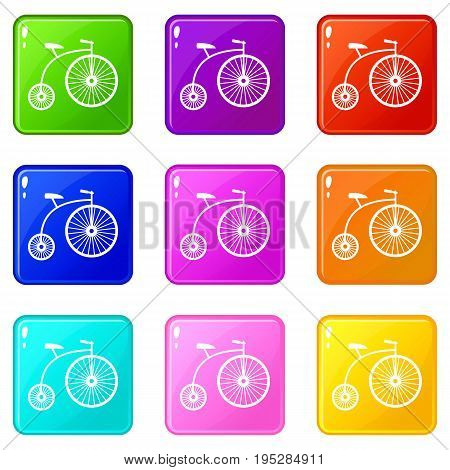 Penny-farthing icons of 9 color set isolated vector illustration