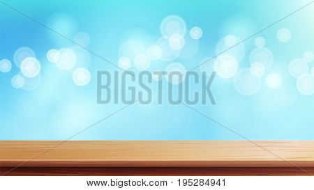 Wood Table Top Vector. Blue Bokeh Background. Empty Smooth Wooden Deck Table. Abstract Lights On Gold Bokeh Blurred Background. Good For Display, Montage Your Products.