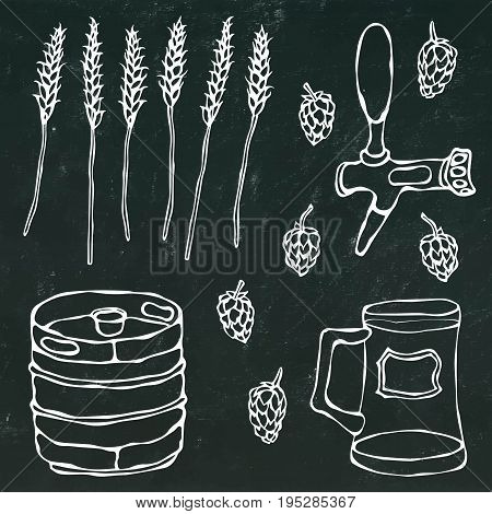 Set of Beer Objects: Hop, Malt, Mug, Tap, Keg. Realistic Doodle Cartoon Style Hand Drawn Sketch Vector Illustration. Isolated on a Black Chalkboard Background.