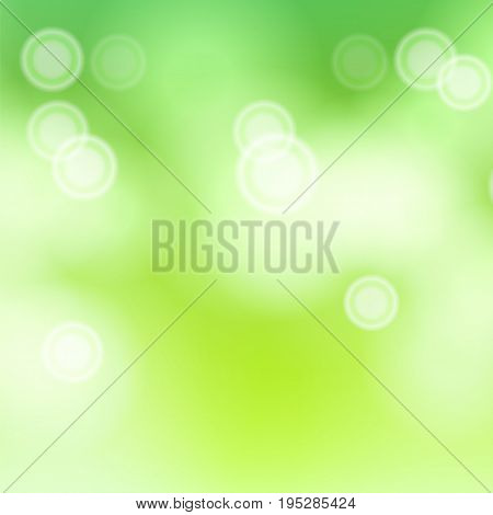 Green Sweet Bokeh Out Of Focus Background Vector. Abstract Lights On Green Bokeh Blurred Background.