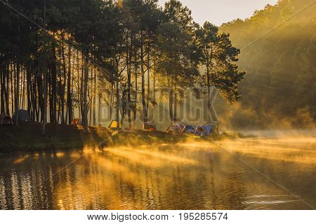 landscape with fog in the morningcloud mountain valley landscape morning fog in the forest at pondfoggy on the lake with sunrisePang OungMae Hong SonThailand