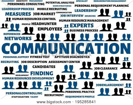 Communication - Image With Words Associated With The Topic Recruiting, Word, Image, Illustration