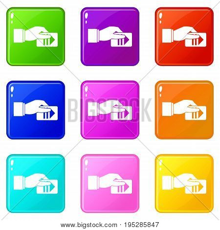 Hand with parking ticket icons of 9 color set isolated vector illustration