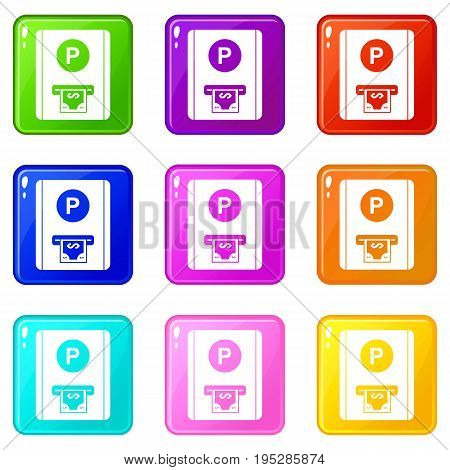 Parking fee icons of 9 color set isolated vector illustration