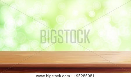 Wood Table Top Vector. Blur Spring Green Background. Empty Smooth Wooden Deck Table. Blurred Warm Bokeh Background. For Advertising Your Product On Display.