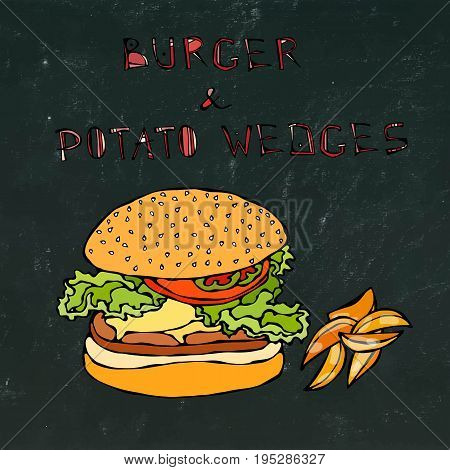 Big Hamburger or Cheeseburger with Potato Wedges. Burger Lettering. Realistic Doodle Cartoon Style Hand Drawn Sketch Vector Illustration. Isolated on a Black Chalkboard Background.