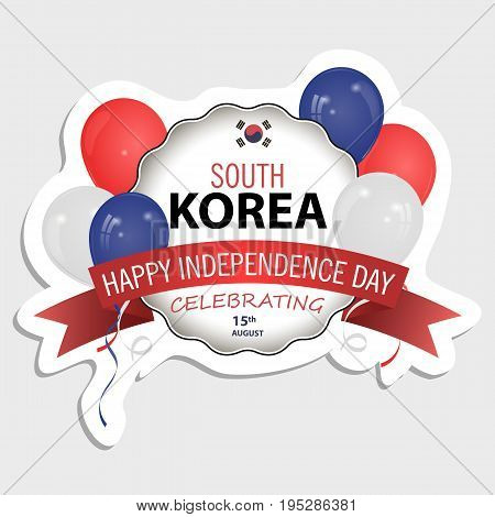 South Korea flag in the correct Size proportion and color. Sticker for your design. The national flag of South Korea. Balloons of different colors. The national flag of South Korea vector illustration.