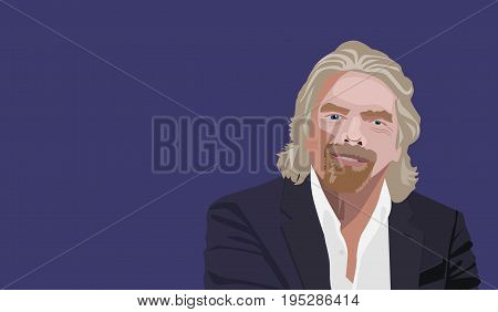 Famous Entrepreneur, Author and founder Richard Branson vector portrait on a blue background.